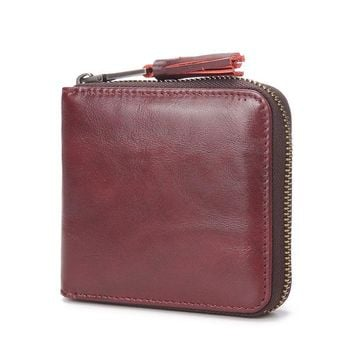 New high quality women vintage Genuine cow Leather Zipper tassel wallet retro Leisure Purse Wallets with Coin Pocket brand