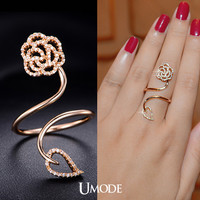 UMODE Newest Cute Twine Finger Ring for Women Flower & Leaf Rose Gold Color Big Ring with Top Grade AAA+ Clear CZ Stone UR0061A