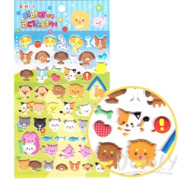 Cats and Dogs Shaped Cartoon Pet Themed Spongy Stickers