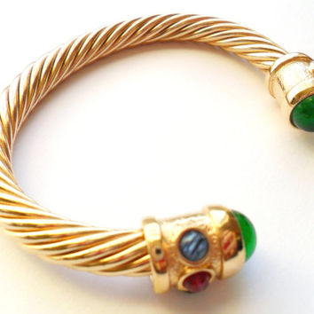 Vintage Gold Tone Cable Bracelet Emerald Green Ruby Red Sapphire Blue Glass Cabochon Twisted Rope Cuff Bangle Boho Renaissance