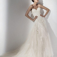 A-line Sweetheart Strapless Court Train Lace Wedding Dress with Beading - EveAllure.com