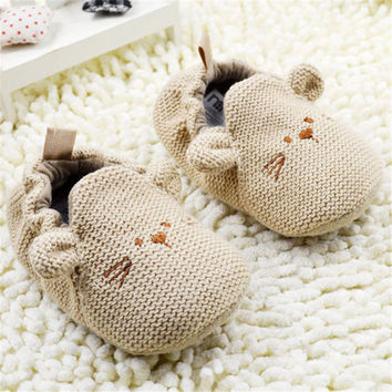 0-18M Newborn Toddler Knit Shoes Boys Girls Cute Mouse Crib Shoes Cartoon Bootee First Walkers