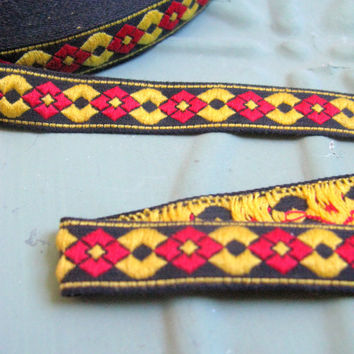 Vintage Woven Jacquard Ribbon, Geometric Jacquard Ribbon, Red and Yellow Woven Jacquard Ribbon