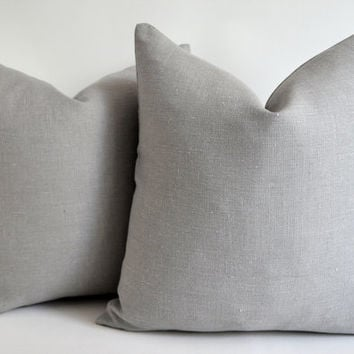 Sale Sukan Gray Linen Pillow - gray cushion - throw pillow - gray shams - gray pillowcase 12 14 16 18 20 22 24 26 28 30 lumbar bolster