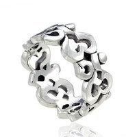 925 Sterling Silver Om Ohm Aum Symbol High Polished Finish Band Ring - Size 9
