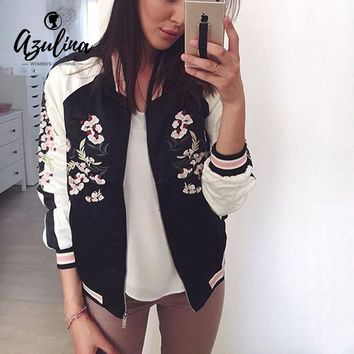 AZULINA Reversible Jacket Coat Floral Embroidered Bomber Jacket Women Flower Baseball Basic Jacket Female Black Coat