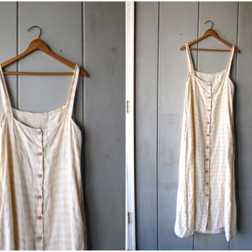 90s LINEN Dress Long Minimal Sun Dress Button Down Vintage Loose Fit Frock Natural Look Sundress Boho Maxi Dress Womens Medium