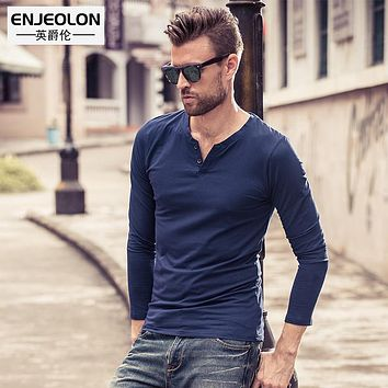 long sleeve Men Clothing v neck solid cotton T-Shirt Slim 10 color Tops Tee