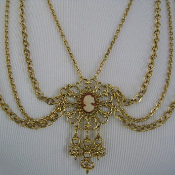 Vintage CELEBRITY N.Y. New York Gold Tone Antique Finish Multi Chain With Lady Profile CAMEO Center/Pendant Classic Draped Festoon Necklace