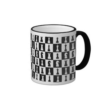 Chess Game Figures Black and White Pattern Ringer Coffee Mug