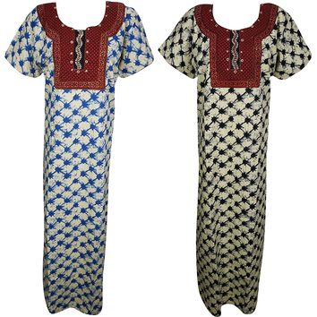 Erin Womens Cotton Nightgown Printed Resort Wear Caftan Nightdress Large Lot Of 2: Amazon.ca: Clothing & Accessories