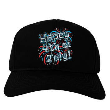 Happy 4th of July - Fireworks Design Adult Dark Baseball Cap Hat