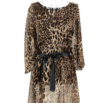 New Korea Ladies Bohemian Loose Leopard Print Chiffon Half Batwing Sleeve Dress mujer casuales ropa casuales femininos grandes Alternative Measures - Brides & Bridesmaids - Wedding, Bridal, Prom, Formal Gown