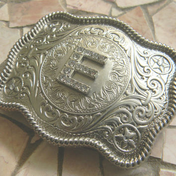 Monogram Letter E Personalized Silver Belt Buckle, Rhinestone Initial E Monogrammed Womens Mens Kids Western Belt Buckle, Custom Belt Buckle