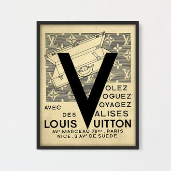 Louis Vuitton Printable, French Fashion Wall Decor, Vintage Suitcase Ad, Antique Travel Poster, Louis Vuitton Fashion Print, Fashion gift