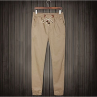 Joggers Khaki Men's Pants of Cuffed Long Trousers European Pants