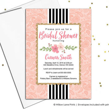printable wedding shower invitation with flowers - peach, black and white stripes, bridal shower invite, wedding shower invite printed (683)