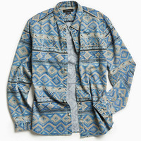 UO Denim Blanket Stripe Button-Down Shirt - Urban Outfitters