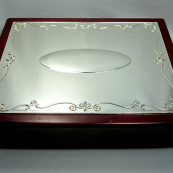 Wood Jewelry Box Chest Musical Scrolled Silver Toned Lid