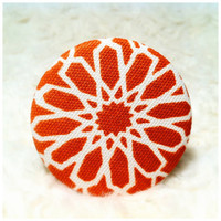 Fabric Pocket Mirror - Orange and White Floral (no. 2)