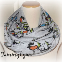 Ready to Ship!! Moose Mania Heather Gray Trees Winter Mountains Fun Trendy Infinity Scarf Cotton Jersey Knit Double Loop