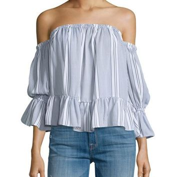 Misa Los Angeles Brigit Off-The-Shoulder Striped Top, Navy/White
