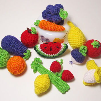 12 Pieces of Crochet Play Food, Crochet Fruits, Crochet Vegetables,