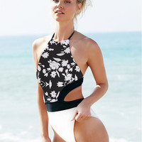 Black and White Floral Print Cut Out Waist Monokini