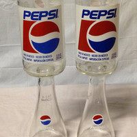 Pepsi Soda Pop Wine Glasses. Recycled Glass Bottles. Novelty Cups.