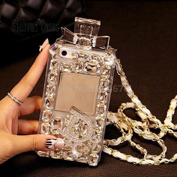 White Luxury Bling Crystal Diamond Lanyard Chain TPU For Samsung S6 S7 S8 edge S5 S4 Note 4 3 5 for iPhone 5 SE 6 S 7 Plus case