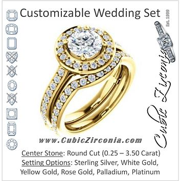 CZ Wedding Set, featuring The Sally engagement ring (Customizable Halo-Round Cut Design with Round Side Knuckle and Pavé Band Accents)