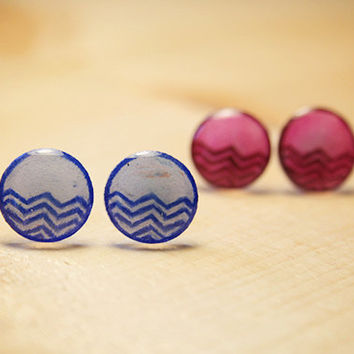 Blue Half Chevron Pattern | stud earrings