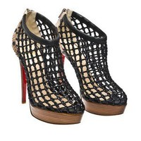 Christian Louboutin Coussin woven boots with python trim - $279.00