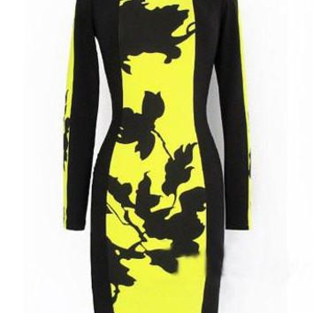 Yellow Printed Long Sleeve Knee Length Dress