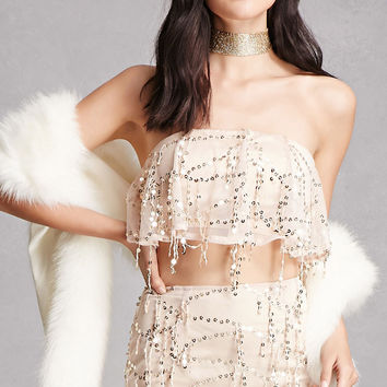 Sequined Crop Top and Skirt Set