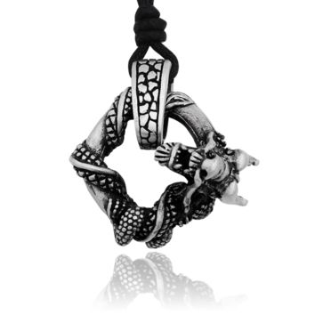 Dragon Silver Pewter Charm Necklace Pendant Jewelry With Cotton Cord