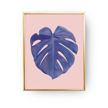 Monstera Violet Print, Plant Illustration, Tropical Leaf Poster, Boho Desert, Botanical Print, Wall Decor, Minimal Wall Art, Watercolor Art