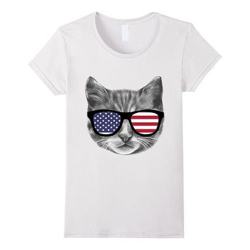 Funny USA Patriotic Cat Kitten W American Flag Glasses ShIrt