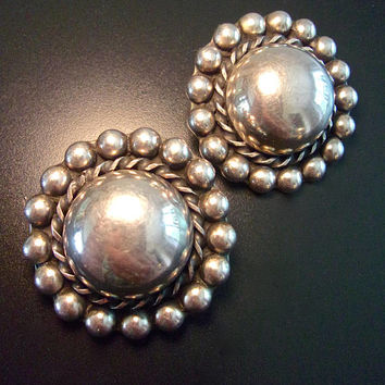 Large Round Domed Taxco Sterling Earrings, Mexico ClipOn, Vintage