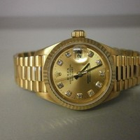 "Rolex President 69178 ""U"" 18K Ladies 26MM Watch W/Factory Diamond Dial."