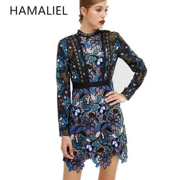 Self Portrait Women Lace Party Dress 2017 Summer Runway Vintage Lace Patchwork Print Flower Long Sleeve Stand Collar Slim Dress