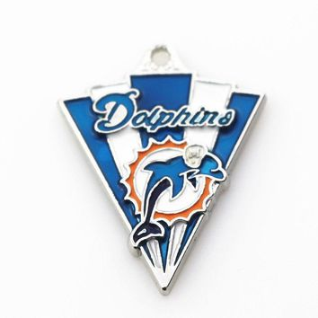 Hot Sale 12pcs/lot Silver Alloy Pendant Miami Dolphins Football Sports Team Dangle Charms For Bracelet Necklace Fashion Jewelry