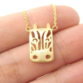 Zebra Face Cut Out Shaped Pendant Necklace in Gold | Animal Jewelry