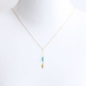 Gold Leaf & Turquoise Lariat Necklace - lariat, layering, y necklace