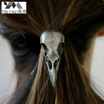 YouMap Charm The Crow Head Skull Hair Jewelry Accessories Vintage Antique Bronze Silver Birds Head Elastic Hair Bands