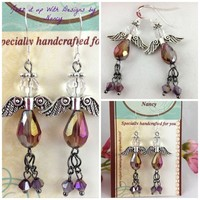 Tiny Purple Swarovski Angel Wings Feet Halo Handmade Beaded Earrings