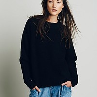 Free People Womens Bubble Crew Neck Pullover