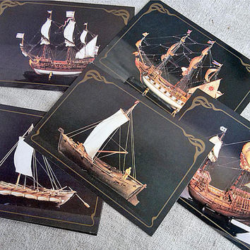 History of navigation Soviet vintage set 18 postcards of miniature ships Raft Pie Boat Galley Sailing ships Frigate USSR postcard Gift idea