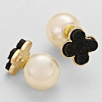 Black Clover White Pearl Double Sided Earrings