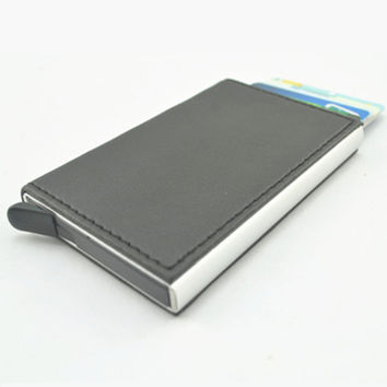 Metal Automatic Pop up Click Slide Card Holder RFID Blocking Bank Card Wallet Aluminum Alloy Safe Card Wallet
